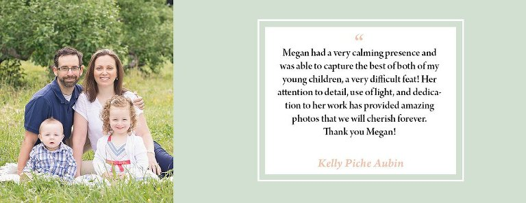 nice words written by a client of megan ho photography in nh