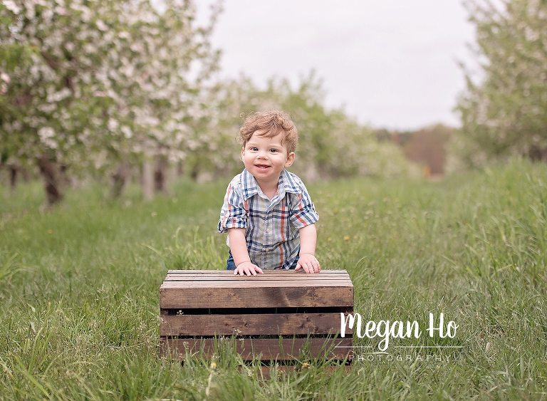 little-boy-standing-by-crate-in-middle-of-apple-field-spring-session-new-hampshire