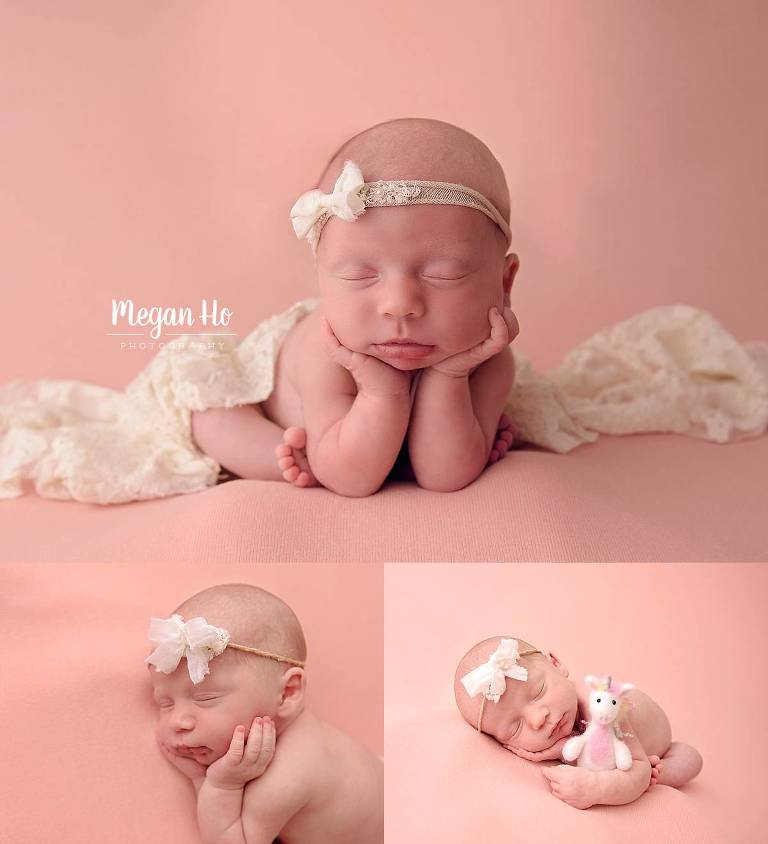 nh newborn baby girl sleeping on pink backdrop in studio session