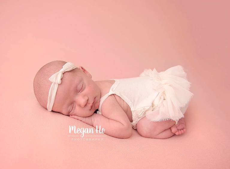 cute tushie up pose with dainty tutu in sweet baby girl newborn session