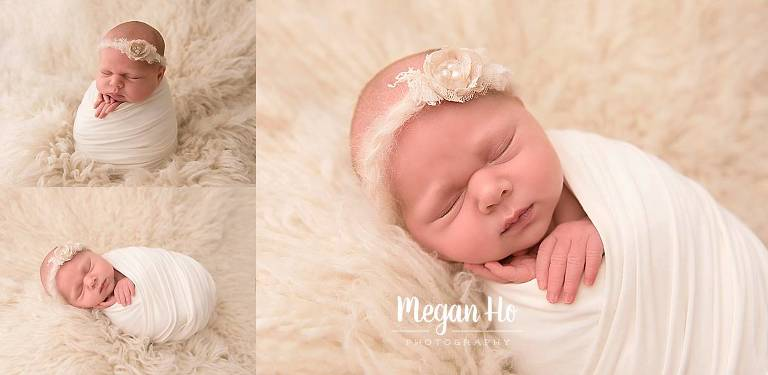 baby girl sleeping swaddled on all white in southern nh studio session