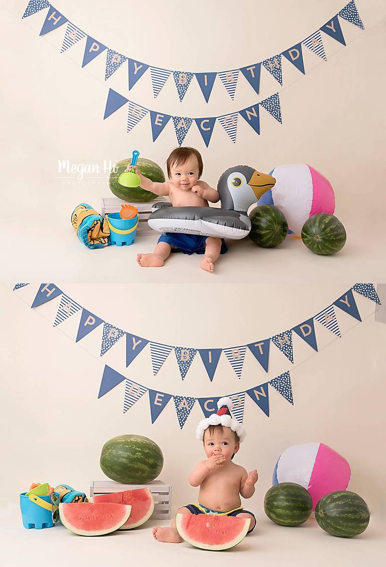 first birthday summer session in nh studio with penguin floatie
