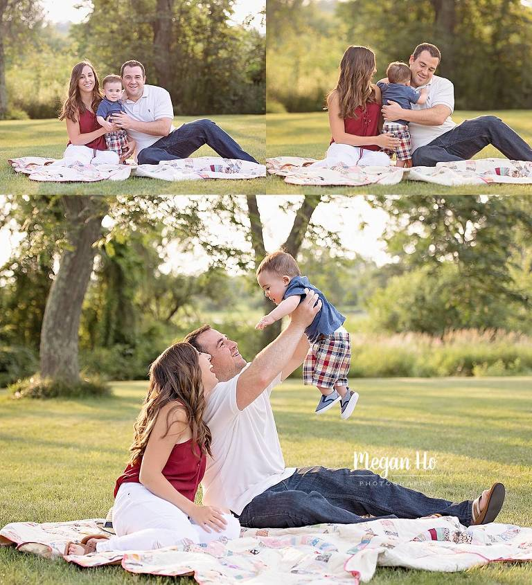 fun family session in new Hampshire summer night at sunset