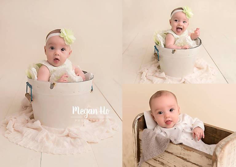 four month session baby girl in a white bucket in nh studio