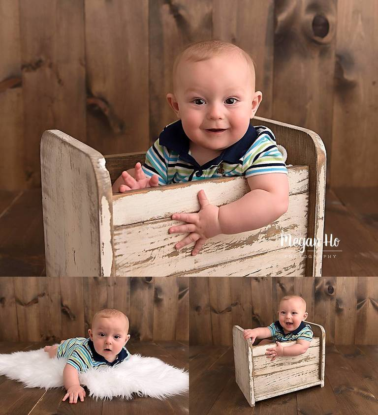 adorable baby boy sitting in a wooden bed in nh child session