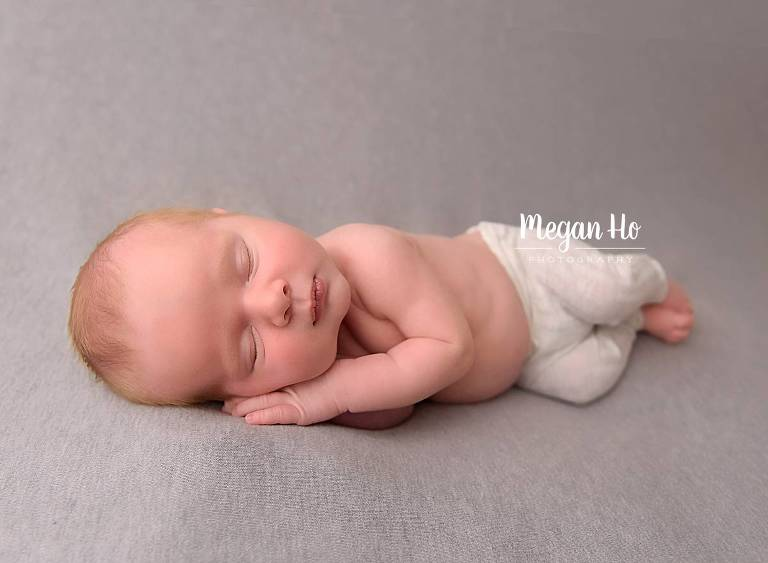 southern nh newborn session little boy in gray pants sleeping