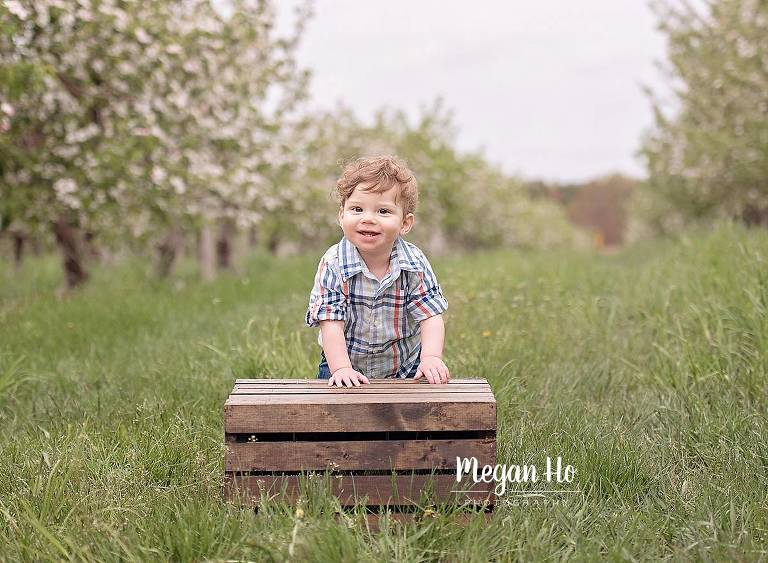 little boy standing by crate in middle of apple field spring session new hampshire
