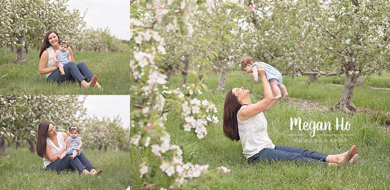 londonderry nh apple blossom spring session mom and baby girl