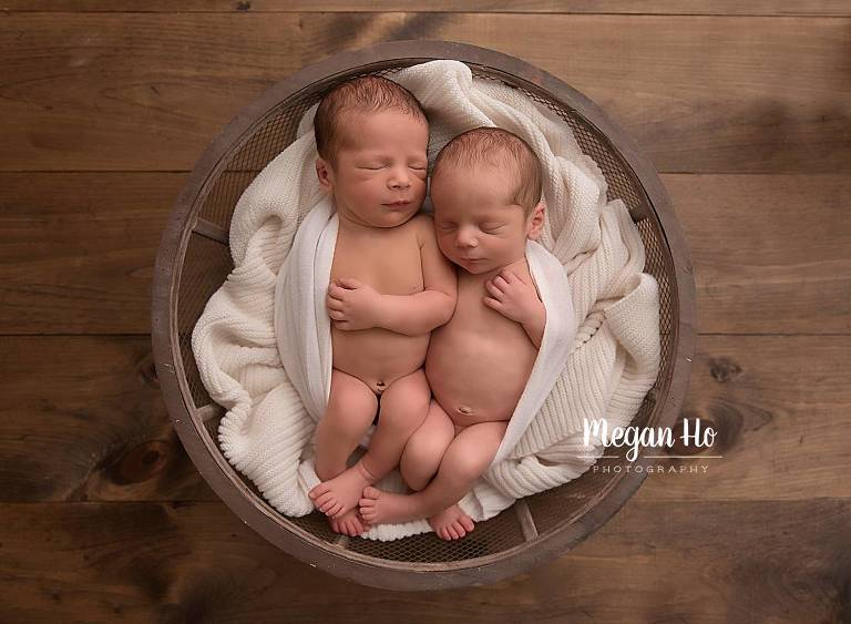 twin newborn boys wrapped in white in bowl nh