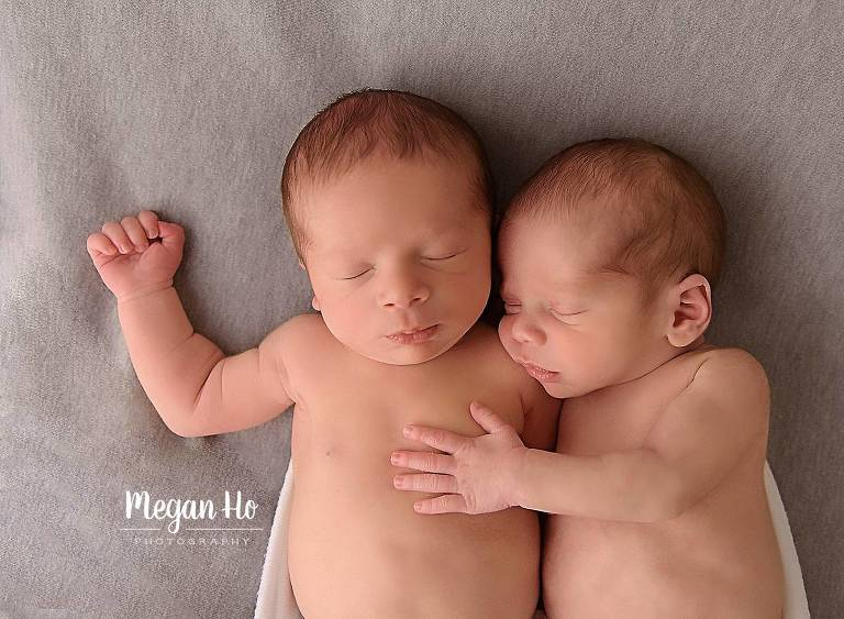 new hampshire newborn session twin boys snuggling sweetly