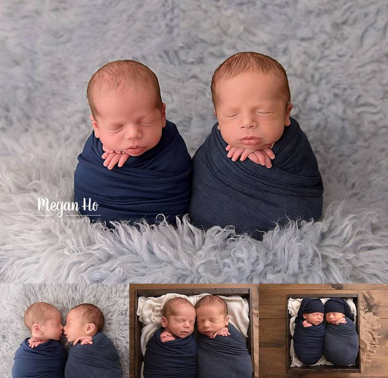 two baby boys wrapped in navy nh twin studio session