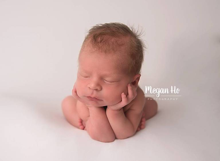 white baby boy froggy pose in new hampshire studio