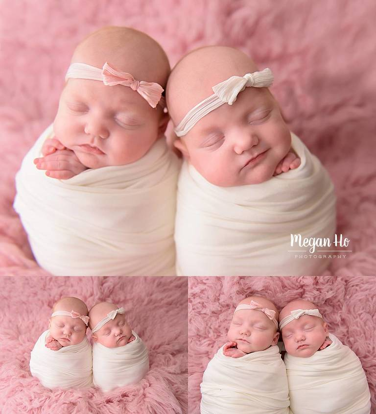 sweetly wrapped twin sisters on pink fluffy rug nh newborn session