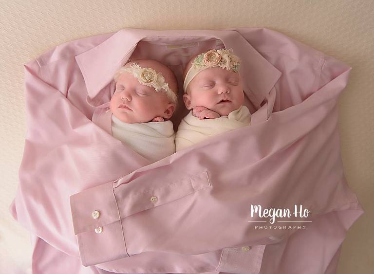 twin sisters wrapped in grandpas pink shirt bedford new hampshire