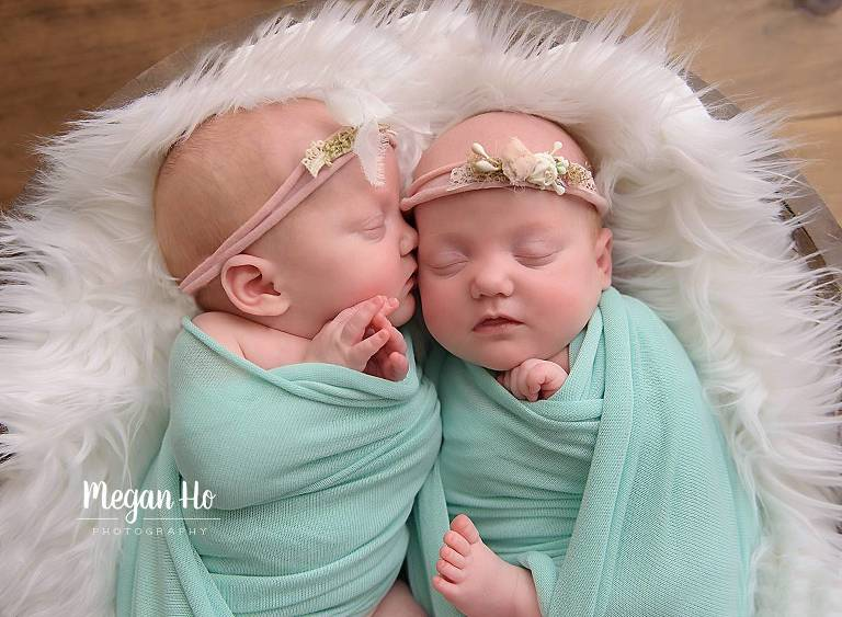 mint and pink twin girls new hampshire newborn session telling secrets