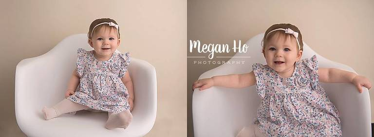 happy little one year girl in flower dress in white chair nh session