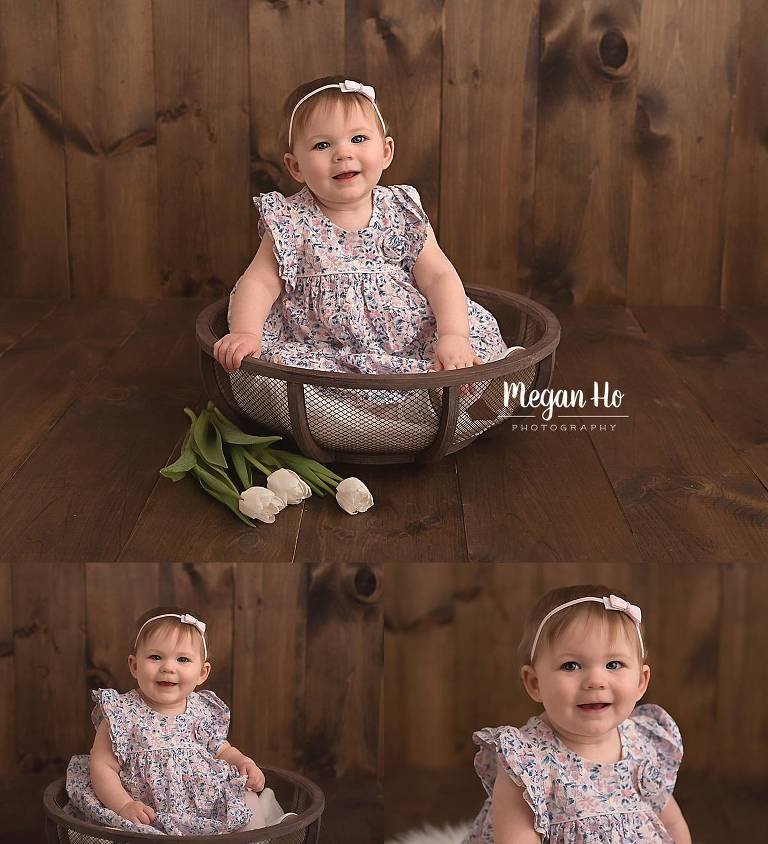 adorable girl in dress sitting in wood bowl in nh studio session