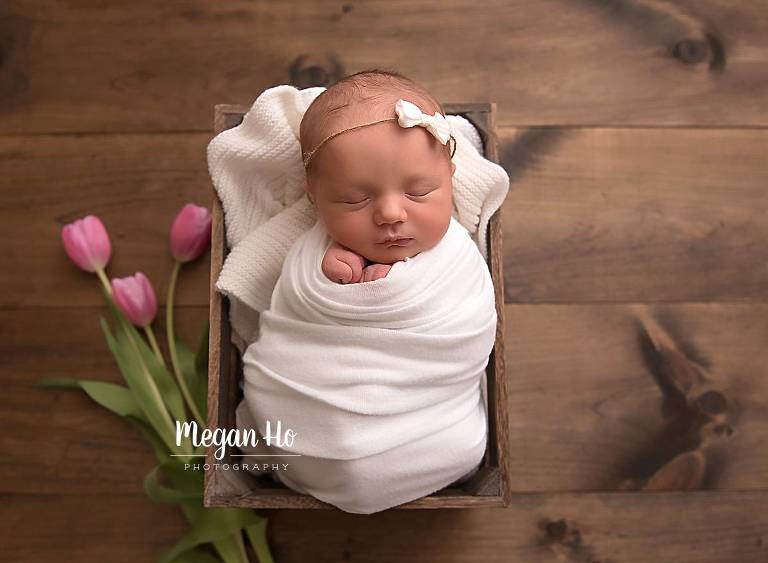 wrapped baby girl in crate with pink tulips southern nh