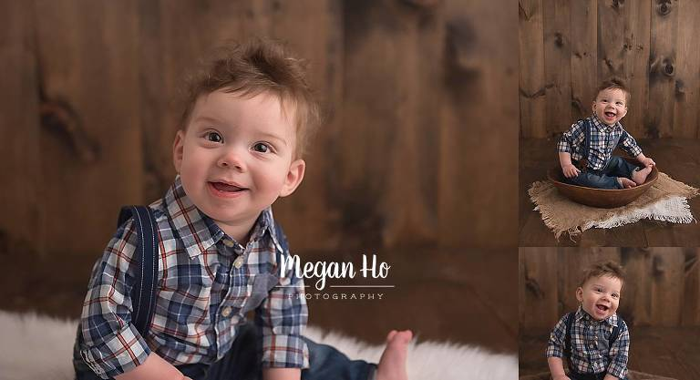 little boy in plaid shirt in nh milestone session