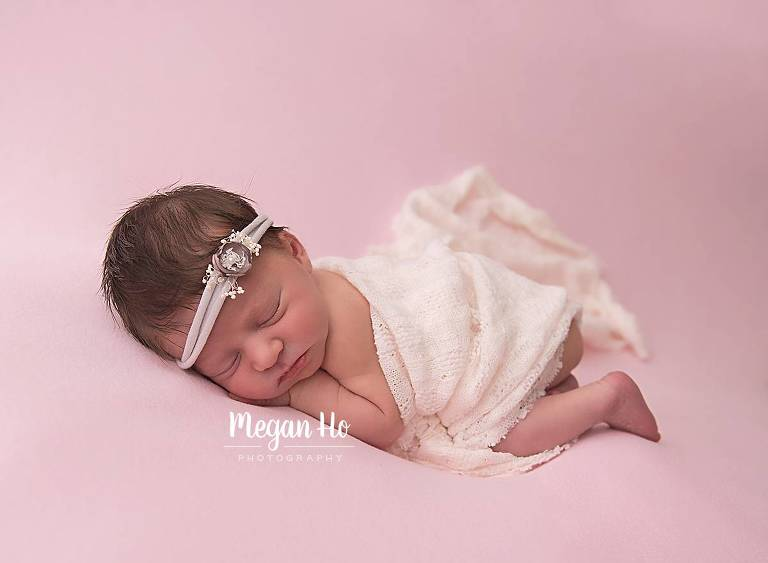 newborn girl sleeping in Bedford NH studio