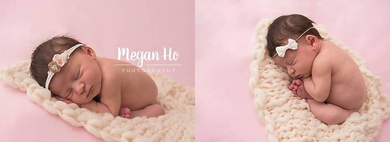 sweet sleeping little girl on white bump blanket on pink backdrop