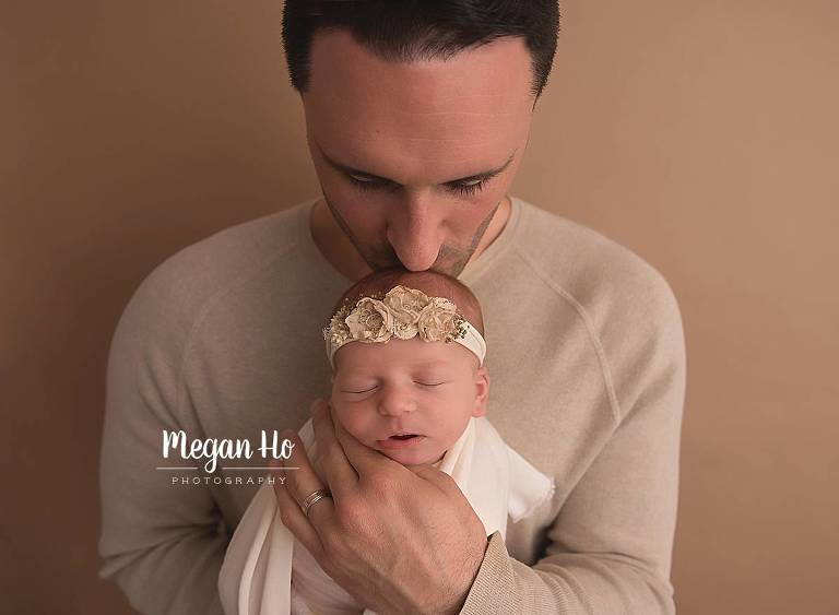 loving dad and baby newborn session southern nh studio