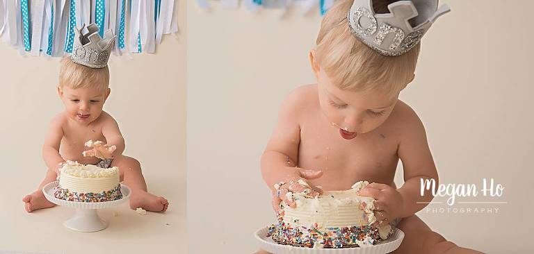 birthday boy sticking hands and face into cake in cakesmash session in nh
