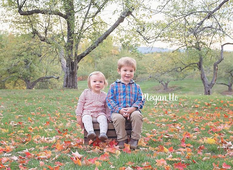 two kids sitting in beautiful apple trees with orange red and yellow leaves