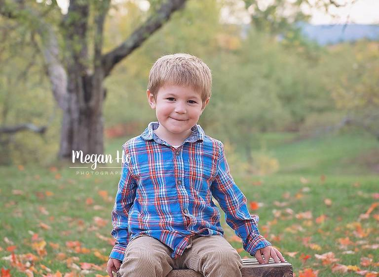 little boy on crate in apple orchard in plaid shirt