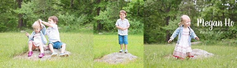 kids sitting and standing on rock in adorable summer session