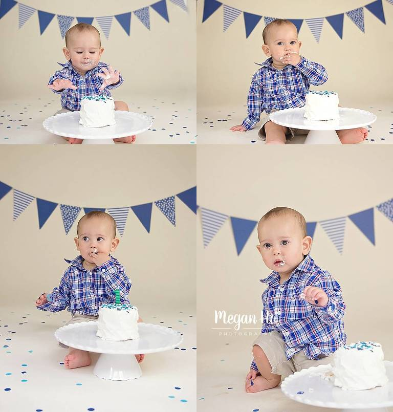 little boy in blue and white cakesmash in southern new hampshire