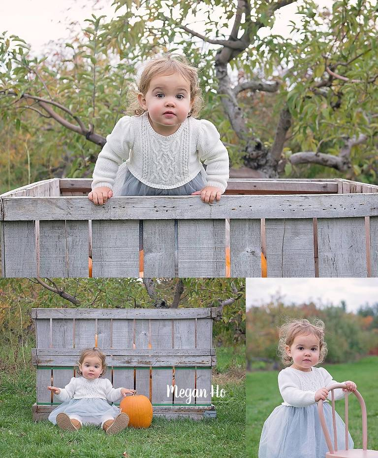 little girl in sweater dress in pumpkin patch with little chair in southern nh