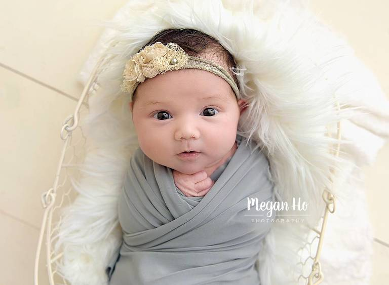 baby girl wrapped in grey in white egg basket with eyes wide open