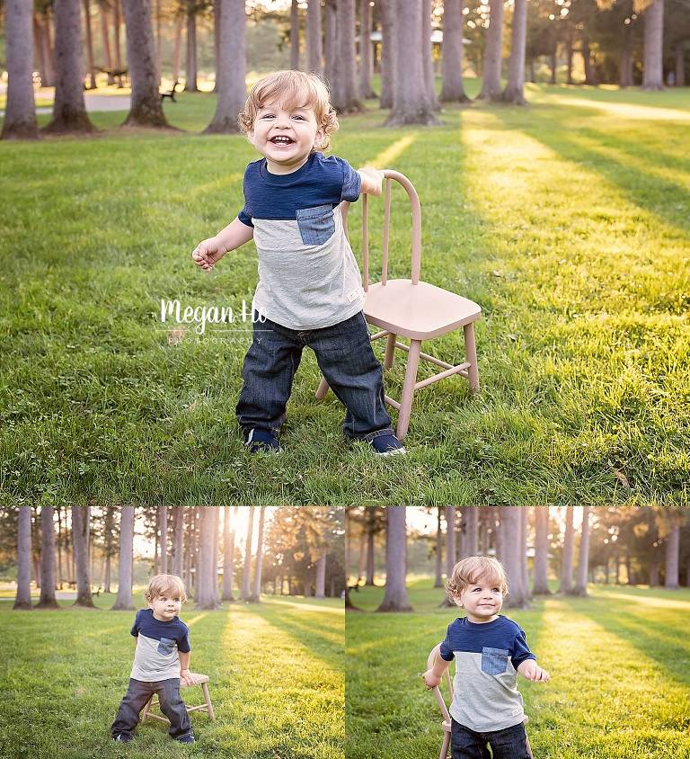 adorable little boy in New Hampshire park with a little chair