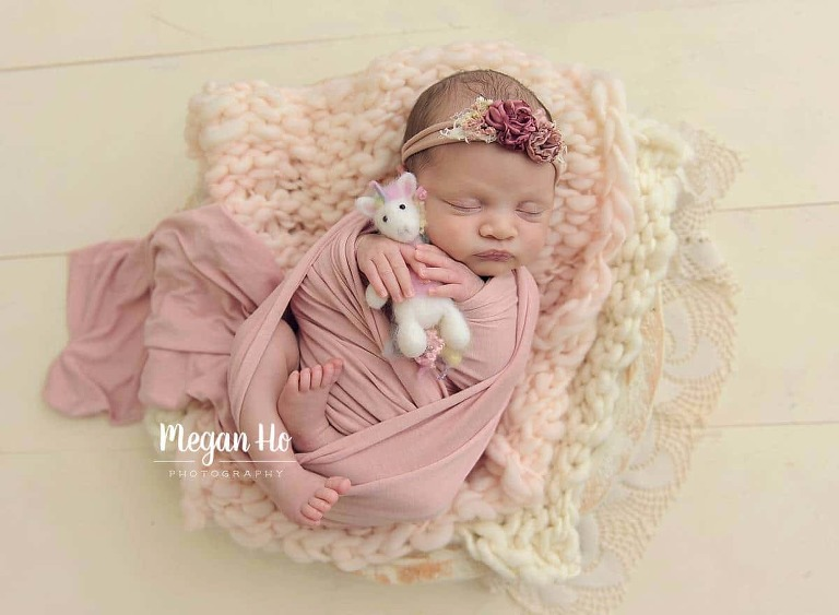 newborn girl wrapped in pink snuggling unicorn on white wood floor bedford nh