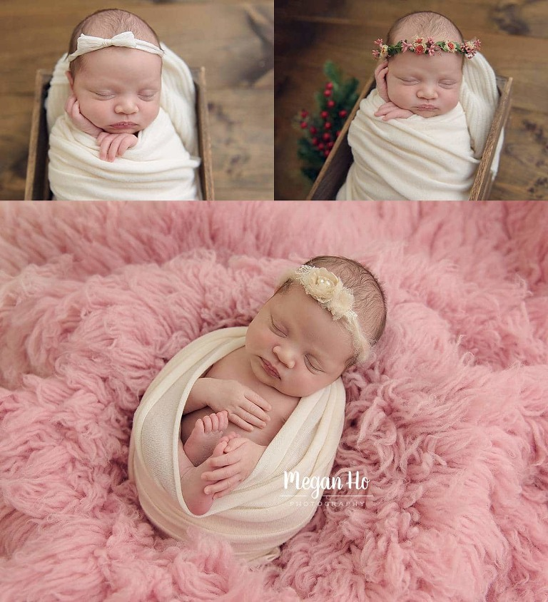 newborn photographer nh studio session baby girl wrapped in white