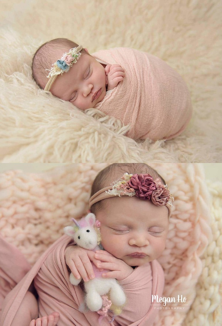 adorable sleeping baby girl wrapped in pink with dainty headband in nh