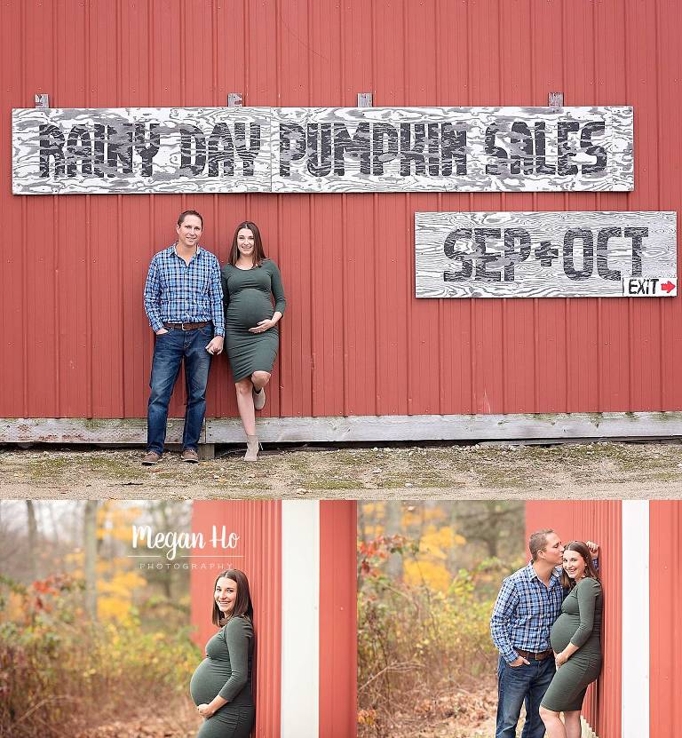 fall maternity session in New Hampshire with red barn