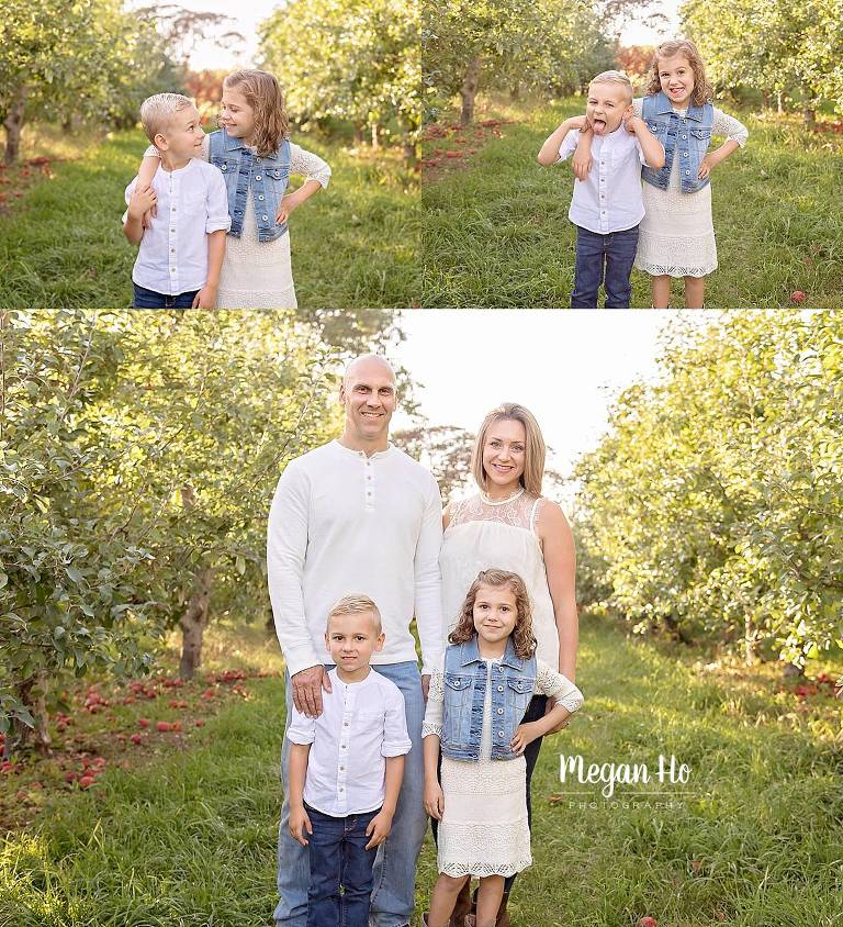 fall family session in nh family of four in blue and white